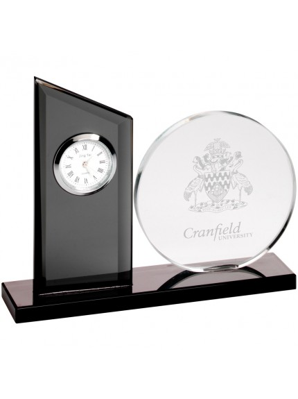 14cm Clear & Black Glass Clock And Round Plaque