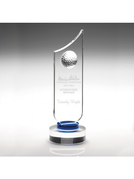 25cm Clear Glass Golf Plaque With Blue Neck - 9.75In