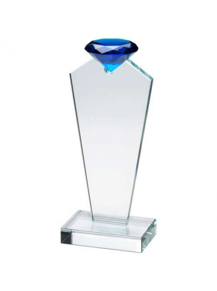 Clear Glass Plaque Topped With A Blue Diamond - Available in 3 Sizes