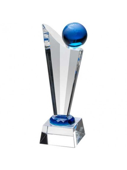 Clear/Blue Glass Victory Plaque With Blue Globe - Available in 3 Sizes