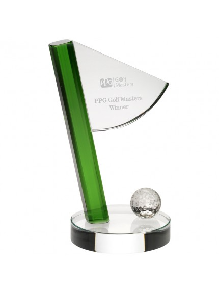 Clear/Green Glass Golf Flag And Ball Award