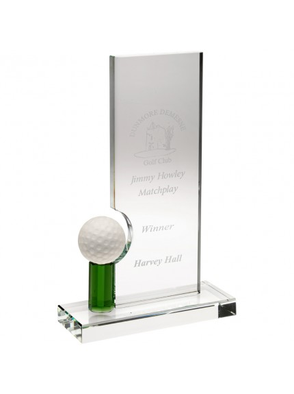 Clear/Green Glass Rectangle With Golf Ball (10 mm Thick) - 8 inch