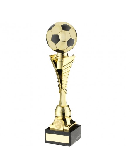 Gold/Black Plastic Football Trophy On Marble