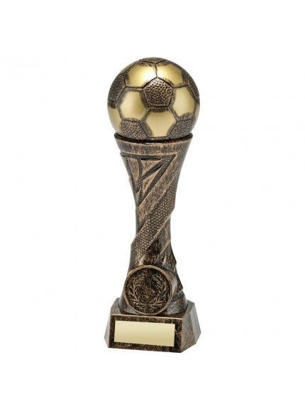 Bronze/Gold Weighted Plastic Football Column Trophy - 4 Sizes