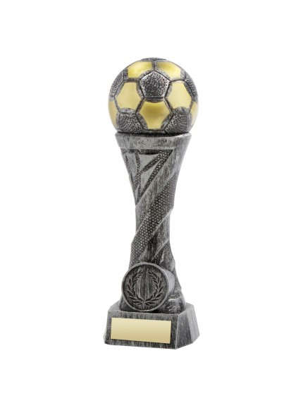 Pewter/Gold Weighted Plastic Football Column Trophy - 4 Sizes