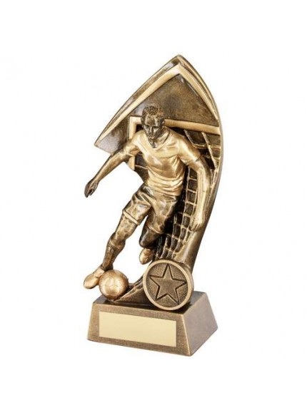 Brz/Gold Male Footballer With Net Backdrop Trophy - Available in 4 Sizes