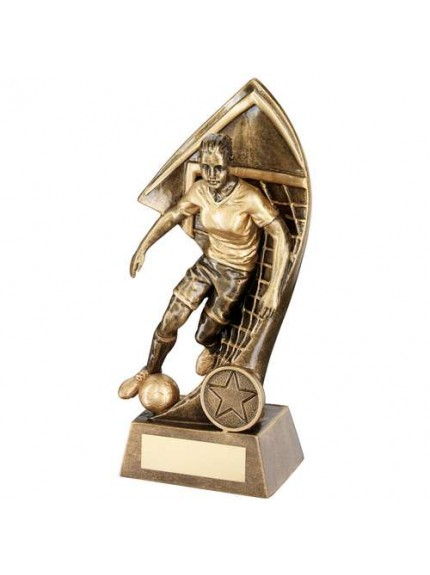 Brz/Gold Female Footballer With Net Backdrop Trophy - Available in 4 Sizes