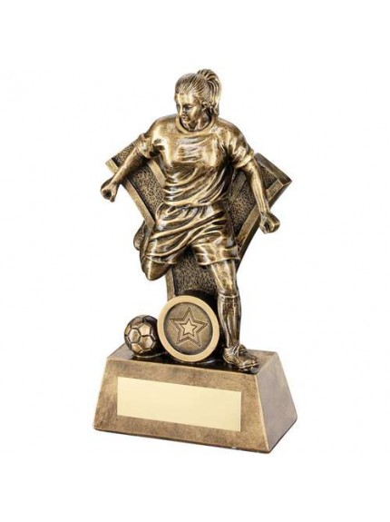 Brz/Gold Female Football Figure With 'Y' Backdrop Trophy - Available in 4 Sizes