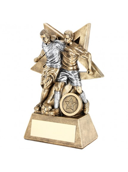 Brz/Pew Male Double Football Figure With Star Backing Trophy