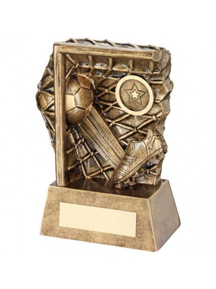 Brz/Gold Football Kicked Into Goal Trophy - Available in 3 Sizes