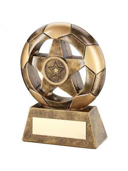 Brz/Gold Football With Star In Hole Trophy - Available in 3 Sizes