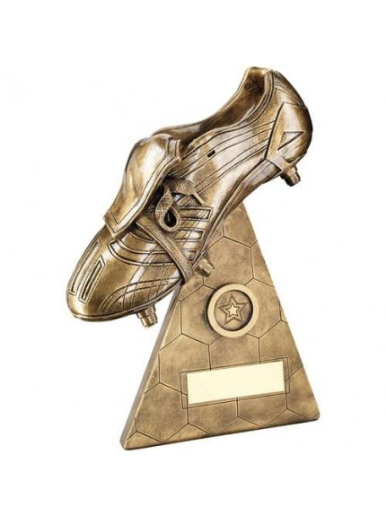 Brz/Gold Football Boot On Pyramid Riser Trophy - Available in 3 Sizes