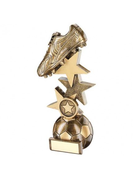 Brz/Gold Football Boot On Multi-Star Riser Trophy - Available in 4 Sizes
