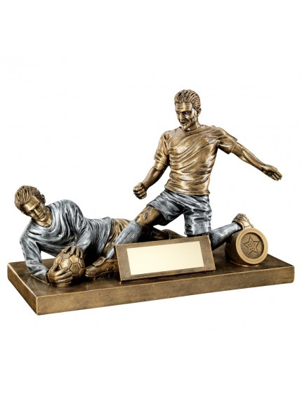 Brz/Pew Male Football Figure And Goalkeeper Trophy - 7.5 X 10.5inch