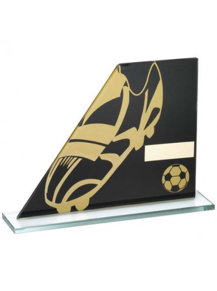 Black/Gold Printed Glass Plaque With Football Boot/Ball Trophy - Available in 3 Sizes