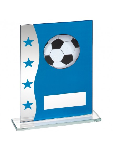 Blue/Silver Printed Glass Plaque With Football Image Trophy