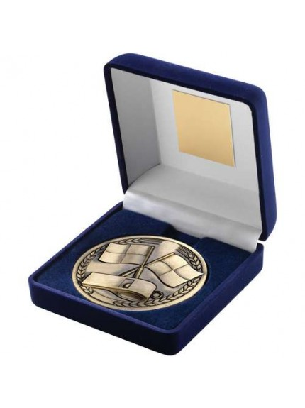 10cm Blue Velvet Box And Medallion Referee Trophy