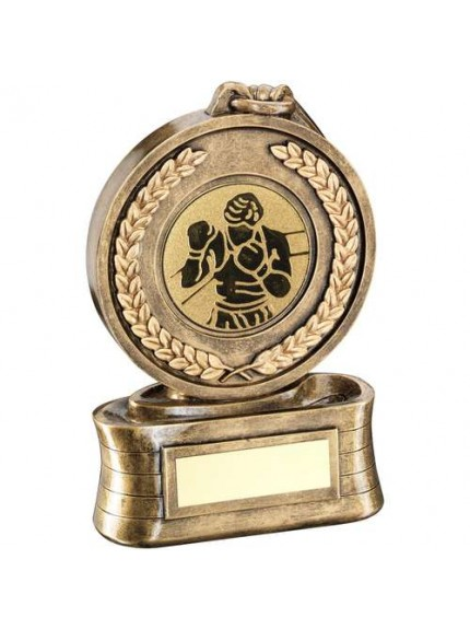 Brz/Gold Medal And Ribbon With Boxing Insert Trophy - Available in 3 Sizes