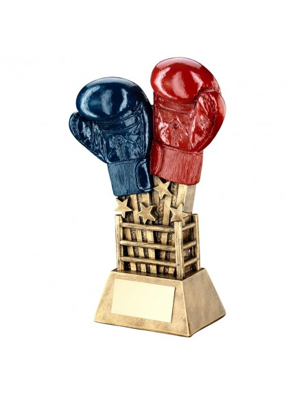 Brz/Gold/Red/Blue Boxing Gloves Star Burst With Ring Base Trophy - 2 Sizes