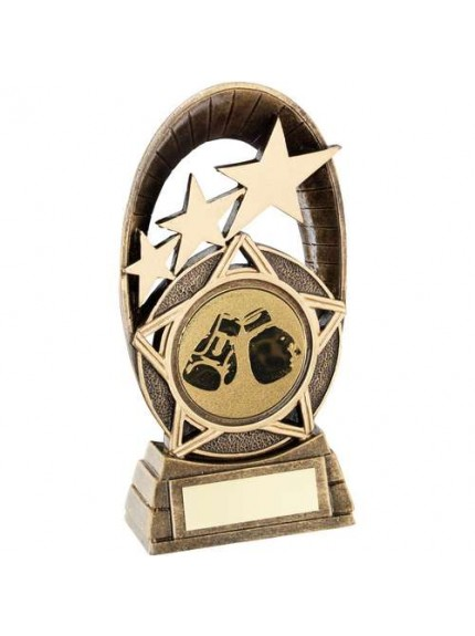 Brz/Gold Generic Tri-Star Oval With Boxing Insert Trophy - Available in 3 Sizes