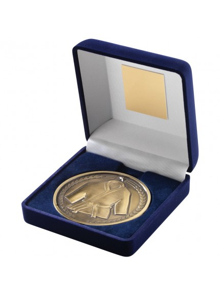 Blue Velvet Box With Martial Arts Medal