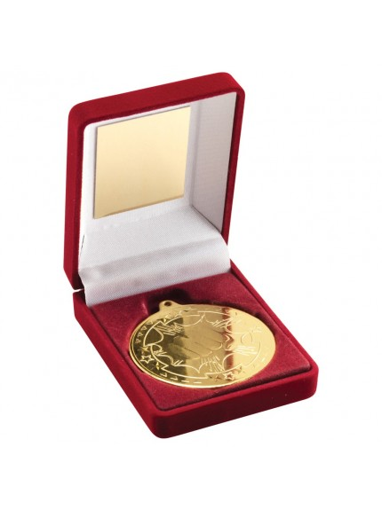 Red Velvet Box With Martial Arts Medal