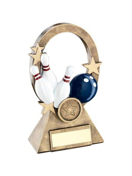 Brz/Gold/Multi Ten Pin Oval/Stars Series Trophy - Available in 2 Sizes