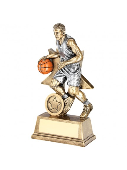 Brz/Pew/Orange Male Basketball Figure With Star Backing Trophy