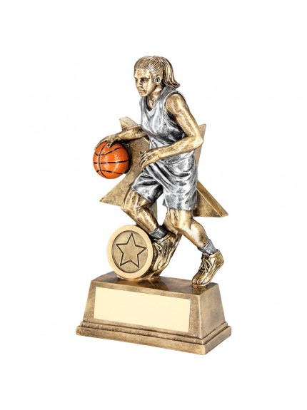 Brz/Pew/Orange Female Basketball Figure With Star Backing Trophy