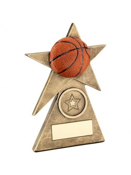 Brz/Gold/Orange Basketball Star On Pyramid Base Trophy - Available in 3 Sizes
