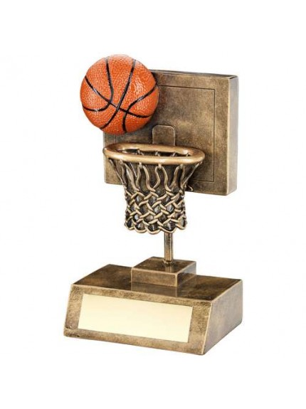 Brz/Gold/Orange Basketball And Net With Backboard Trophy - Available in 2 Sizes