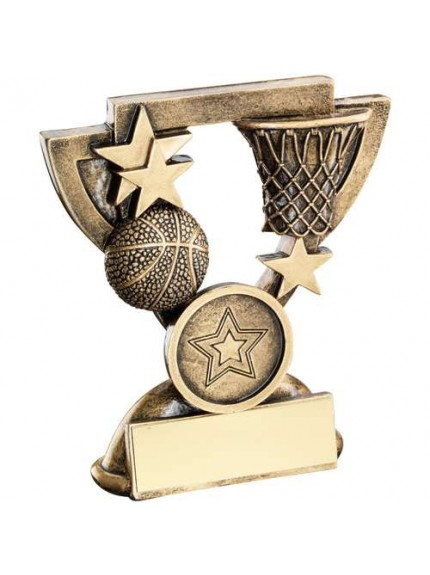 Brz/Gold Basketball Mini Cup Trophy - Available in 2 Sizes