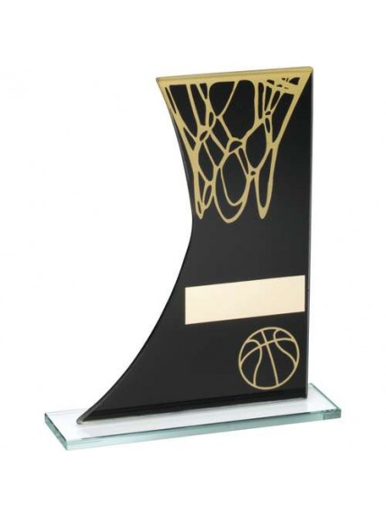 Black/Gold Printed Glass Plaque With Basketball/Net Trophy - Available in 3 Sizes