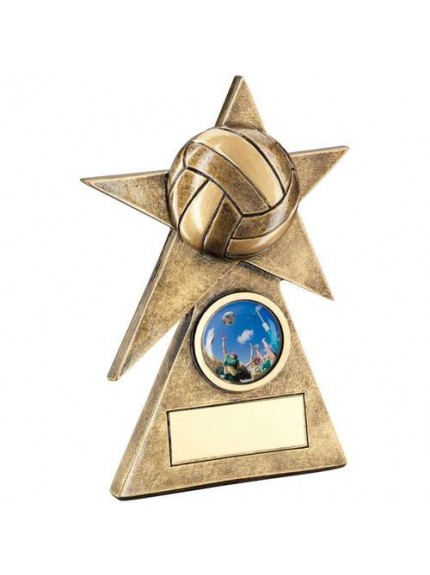 Brz/Gold Netball Star On Pyramid Base Trophy - Available in 3 Sizes