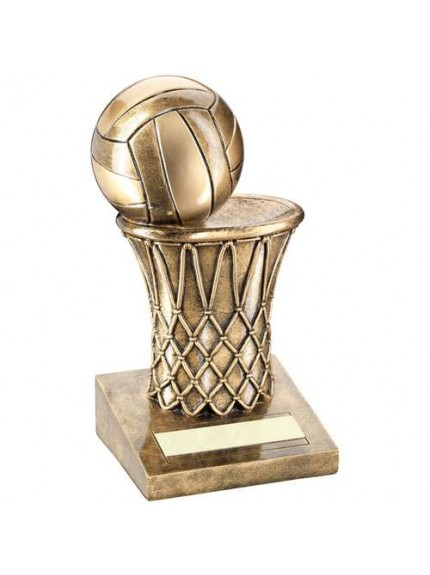 Brz/Gold Netball And Net Trophy - Available in 2 Sizes