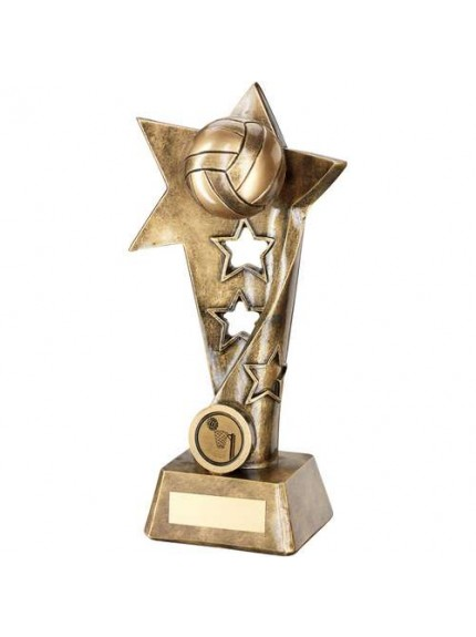 Brz/Gold Netball Twisted Star Column Trophy - Available in 3 Sizes