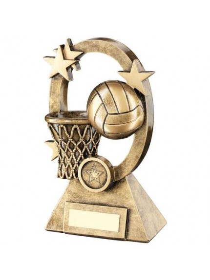 Brz/Gold Netball Oval/Stars Series Trophy - Available in 2 Sizes