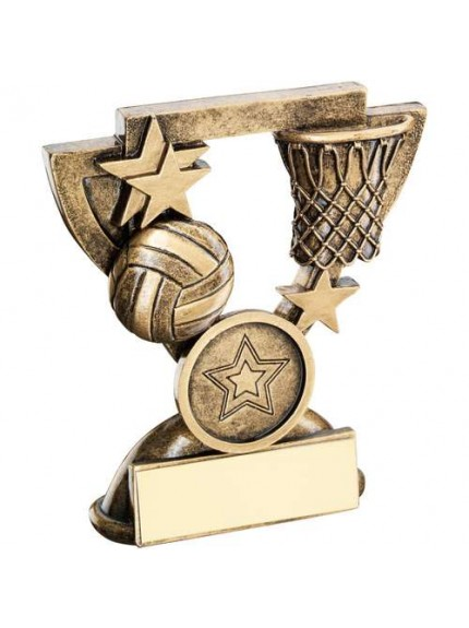 Brz/Gold Netball Mini Cup Trophy - Available in 2 Sizes