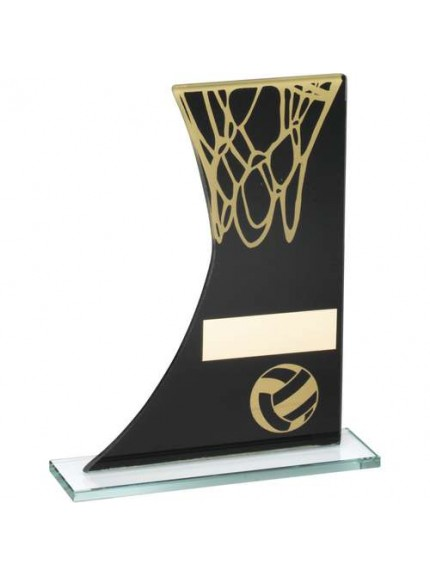 Black/Gold Printed Glass Plaque With Netball/Net Trophy - Available in 3 Sizes
