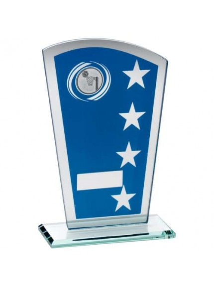 Blue/Silver Printed Glass Shield With Netball Insert Trophy - Available in 3 Sizes