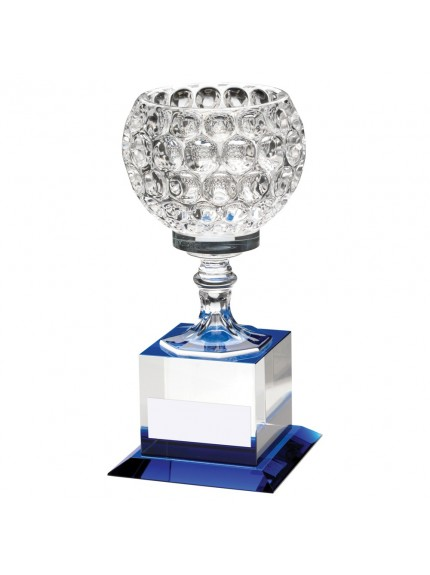 Clear And Blue Glass Goblet On Block Base Trophy