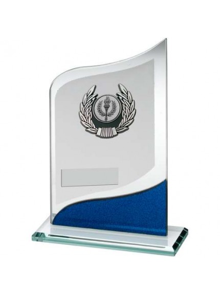 Jade/Blue/Silver Pointed Glass With Silver/Blk Trim Trophy - Available in 3 Sizes