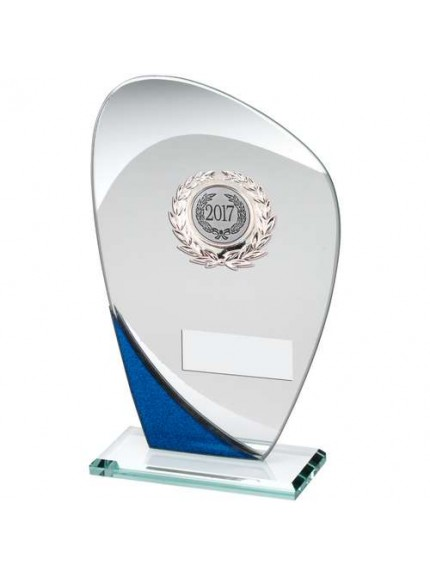 Jade/Blue/Silver Glass Plaque With Silver Trim Trophy - Available in 3 Sizes