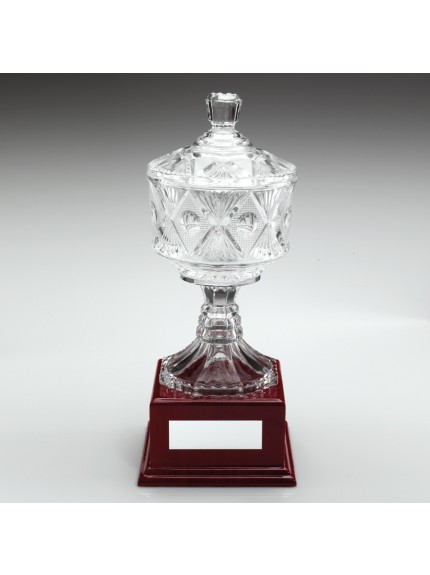 Clear Glass Cup On Wood Base Trophy