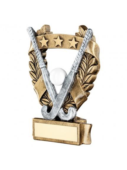 Brz/Pew/White/Gold Hockey 3 Star Wreath Award Trophy - 3 Sizes