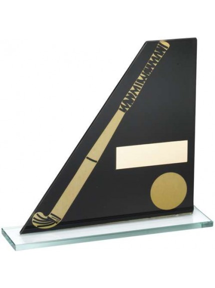 Black/Gold Printed Glass Plaque With Hockey Stick/Ball Trophy - Available in 3 Sizes