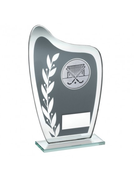 Grey And Silver Glass Plaque With Hockey Insert Trophy