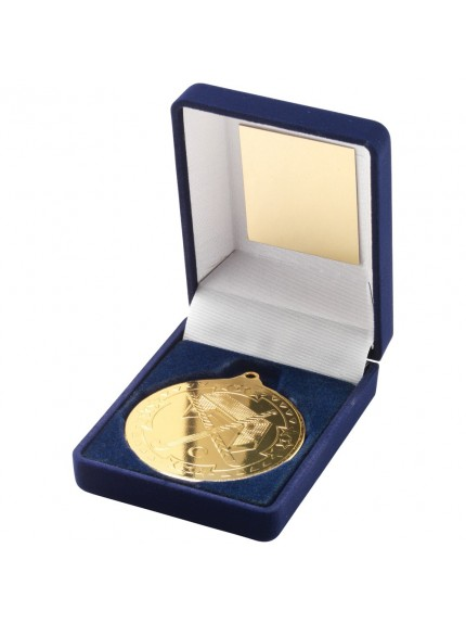 Blue Velvet Box With Hockey Medal