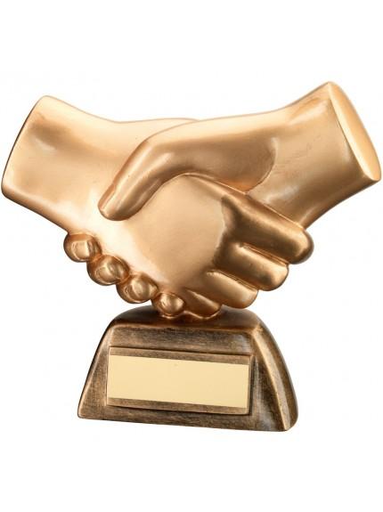 16cm Bronze & Gold Resin 'Handshake' Trophy - 6.25In