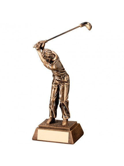 Bronze And Gold Resin Male 'Back Swing' Golf Trophy